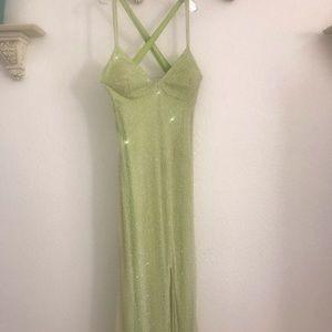 Line Green Beaded Formal/Prom Dress